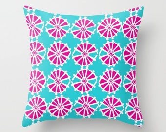 Magenta Turquoise Throw Pillow . Modern Throw Pillow . Geometric Pillow . Pink Cushion . Triangle Pillow Throw Pillow Cover 14 16 18 20 inch