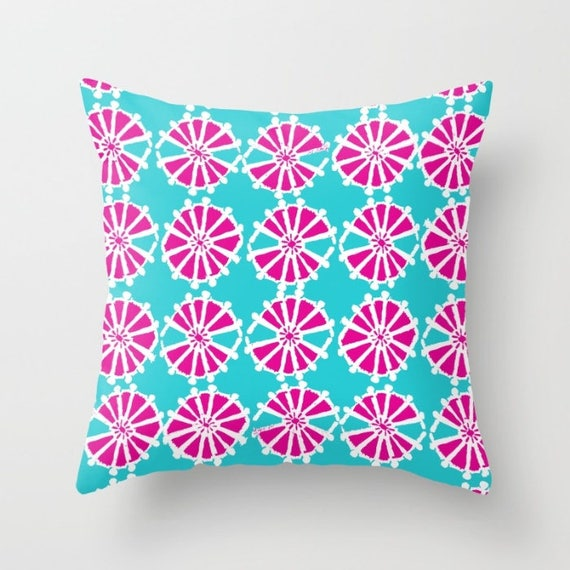 Magenta Turquoise Throw Pillow . Modern Throw Pillow . Geometric Pillow . Pink Cushion . Triangle Pillow . Lumbar Pillow . 14 16 18 20 inch