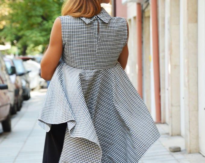 Oversize Shepherd's Plaid Shirt, Sleeveless Maxi Extravagant Shirt, Asymmetric Casual Shirt by SSDfashion