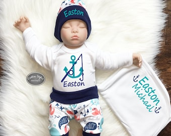 Baby Boy Coming Home Outfit, Nautical Print Shorts & Hat with Navy Blue Trim, Receiving Blanket, Hospital Outfit, Daddy's Fishing Buddy