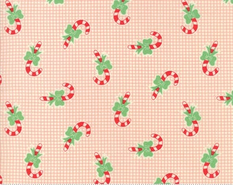 Swell Christmas by Urban Chiks for Moda, #31124-11, Candy Canes Pink, Vintage Christmas, Christmas Fabric, Christmas in July, IN STOCK