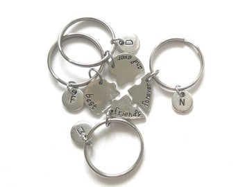 Best Friends Forever 4 Piece Puzzle Keychain Set, Four Keychain Set, Best Friend Jewelry, Gift for Best Friend, Heart Puzzle Keychain