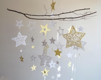 Star Mobile - Hanging Mobile, Yellow Mobile, Nursery Mobile, Home Decor, Baby Mobile, Moon Mobile, Branch Mobile, Baby Shower, Paper Mobile