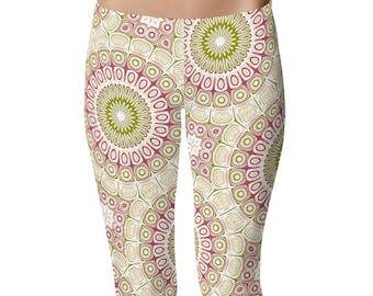 Mandala Flower Leggings, Women's Leggings, Green and Pink Leggings Tights, Yoga Pants