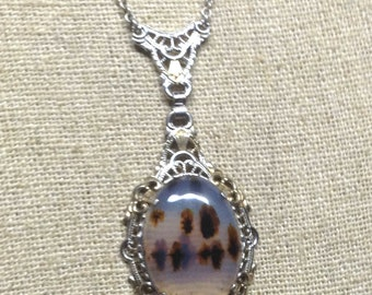 Beautiful French Art Deco Moss Agate Sterling Silver Filigree Vintage  Antique Lavaliere Necklace