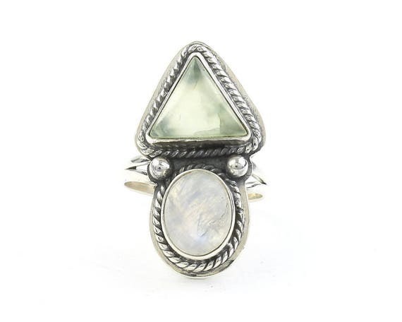 Shewa Ring, Sterling Silver Moonstone And Prehnite Ring, Statement Piece, Festival Jewelry, Boho, Gypsy, Hippie, Spiritual