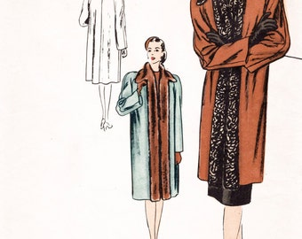 1940s 40s Vintage Sewing Pattern coat fur collar Vogue Special Design bust 34 b34 repro reproduction