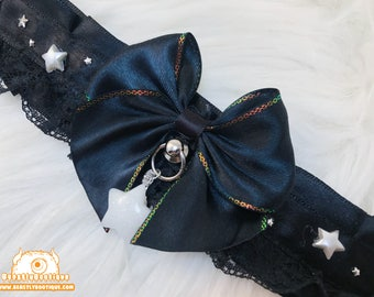 Night Sky Kitten Collar, Kitten Play Collar, Pet Play Collar, Choker, Adult Kitten Play Collar, BDSM Collar