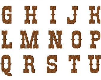 INSTANT DOWNLOAD Rio Western Style Font Machine Embroidery Font Set Includes 4 Sizes