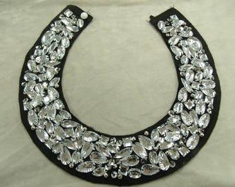 Removable silver acrylic rhinestone collar