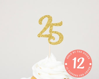 25th Birthday Cupcake Toppers 25th Anniversary 25 Gold Number 25 Year Wedding 25 Gold Glitter Number 25th Birthday Decor Happy 25th Birthday