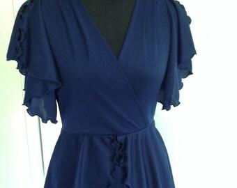 "RICHARD SHOPS Maxi Dress - 32"" Bust - Navy - Peplum - Vintage - 1970s - Free Postage"