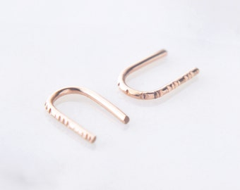 14K Rose Gold U climber earrings - small arc line earrings - textured bar earrings - tiny delicate earrings - solid pink gold - Una RS GLD
