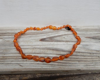 Baltic Amber Necklace from Lithuania for Children/ Flat Raw Cognac Beads/ Dark Honey Color Bead Necklace/ Child Necklace/ Child Jewelry