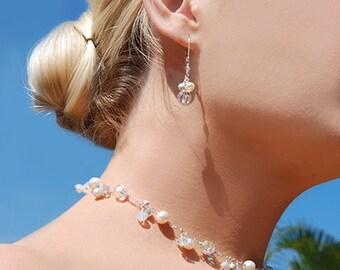 Bridal Necklace, Wedding Jewelry, Swarovski Crystal, Freshwater Pearl Necklace, Silver, Wedding Necklace