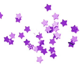 Purple and lavender handpunched stars - confetti