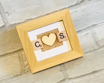 A beautiful hand made scrabble initial frame