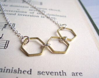 Gold and Silver Hexagon necklace - mixed metal honeycomb - geometric jewellery