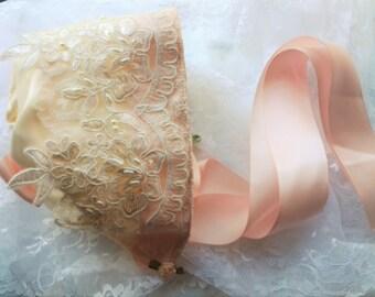 Newborn Baby Girl Vintage Ivory Beaded Lace Heirloom Baby Bonnet