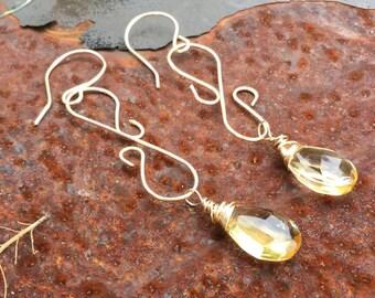 Faceted Citrine Teardrop dangle Earrings   Sunshine Wire work earrings  Wire wrapped Gemstone Jewelry  orig 74 dollars now 60 spring sale