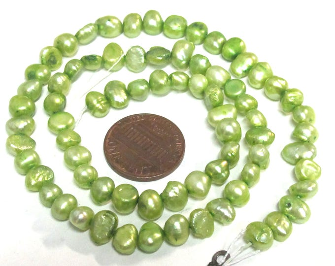 1 Full strand - Green color  freshwater cultured pearl  beads 15 inches strand - PL030C