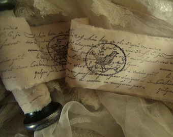 Le French Bird - Hand stamped ribbon trim. (0226)