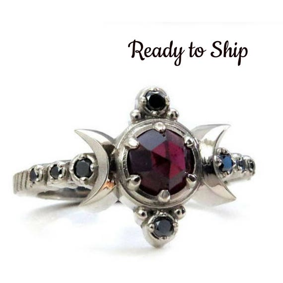 Ready to Ship - Size 4-6 - Gothic Garnet Compass Moon Engagement Ring with Black Diamonds
