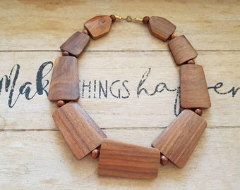 Beautiful wooden statement necklace chunky
