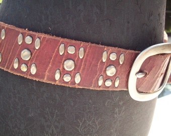 Brown Leather Studded Belt, America's Lucky Brand