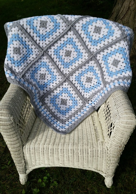 Blue And Grey Granny Square Baby Blanket Crochet Baby
