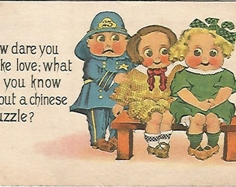 """Police and Children Vintage Postcard """"How dare you make love; what do you know about a Chinese puzzle!"""" 1914 SB Samson Bros Copper Comic"""