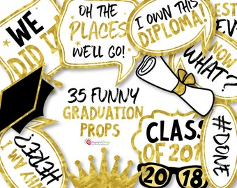35 Gold 2018 Graduation Photo Booth Props - INSTANT DOWNLOAD - DIY Printable (High-Res Jpeg)