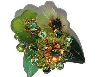 Vintage DeMario Brooch Green Floral Glass Rhinestone Pin
