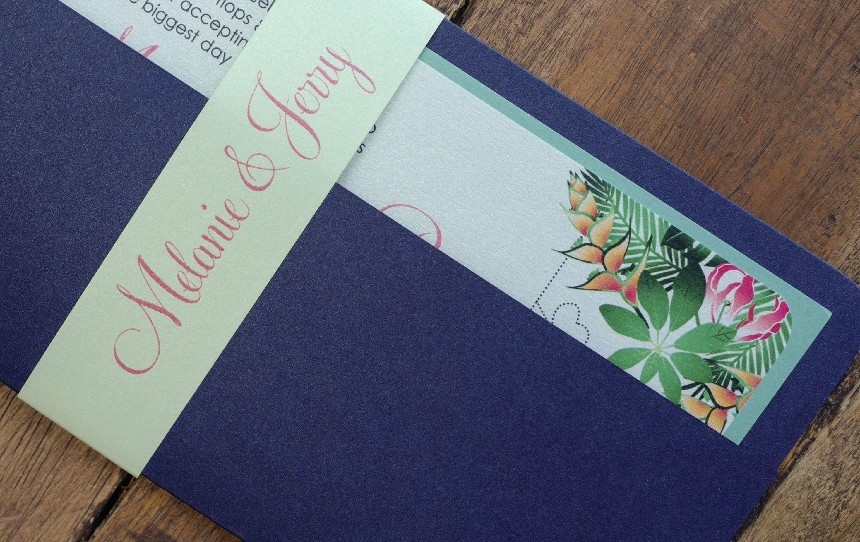Tropical Boarding Pass Wedding Invitation