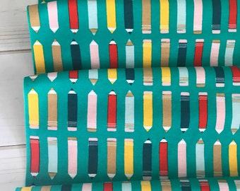 Organic KNIT~ Art Class Green ~ Sidewalk Collection ~ Cloud9 Fabrics Organic Interlock Knit