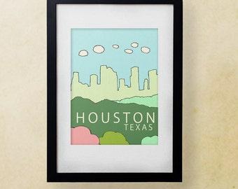 Houston Texas // Nursery Decor, Modern City Skyline Poster, Typography Print, Giclee, United States, Travel Theme, Digital
