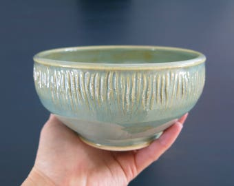 Handmade Ceramic Bowl, Desert Bowl, Soup Bowl Turquoise Green Textured Limited Edition Gift Idea, Artisan Pottery by Licia Lucas Pfadt