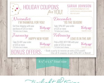Thirty-one Coupon Sheets - Custom PDF Printable ( Thirty One, 31, Business, Card, Thank You, Coupons, Bag Tag)