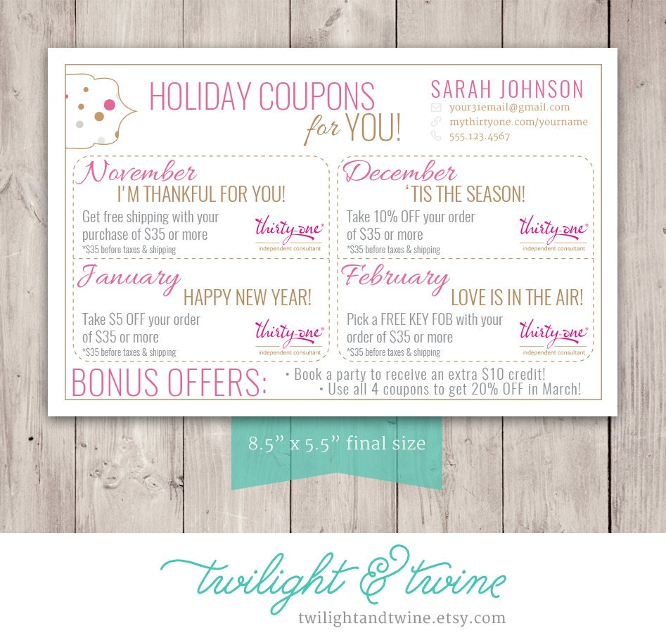Thirty-one Coupon Sheets Custom PDF Printable Thirty One