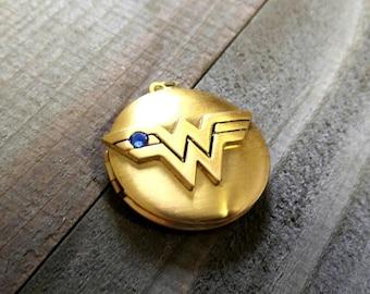 Wonder Woman Charm Wonder Woman Locket DC Comics Charm Antiqued Gold Charm Super Hero Charm Licensed PREORDER
