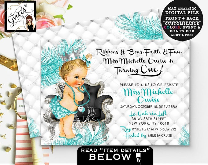 """Silver white and blue invitation, first birthday baby girl, princess 1st birthday, printable invites, turquoise silver glitter, 7x5"""" Gvites"""