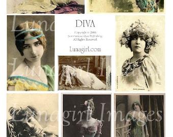 DIVA digital collage sheet VINTAGE WOMEN images photos actresses Victorian Edwardian ladies, vintage postcards altered art ephemera Download