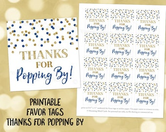 Printable Thank You for Popping By Favor Tags Dark Blue Gold Glitter Confetti for Baby Shower Popcorn Birthday Instant Digital Download