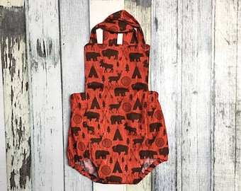 Baby Boy Romper, Bear Romper, ON SALE, Red and Black Romper, Ready to Ship, Woodland Animal Baby Romper Wildlife  Baby Outfit