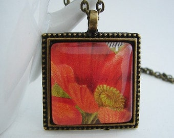 Red Poppies in Antiqued Pendant with Free Matching Necklace
