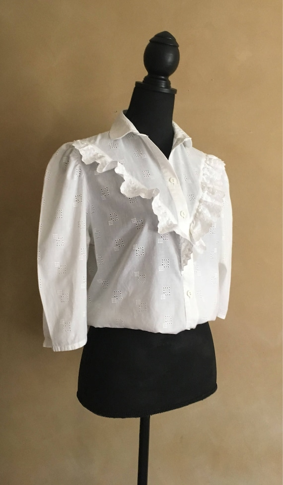 White Cotton Blouse  Praire Style Ruffled Blouse 80's