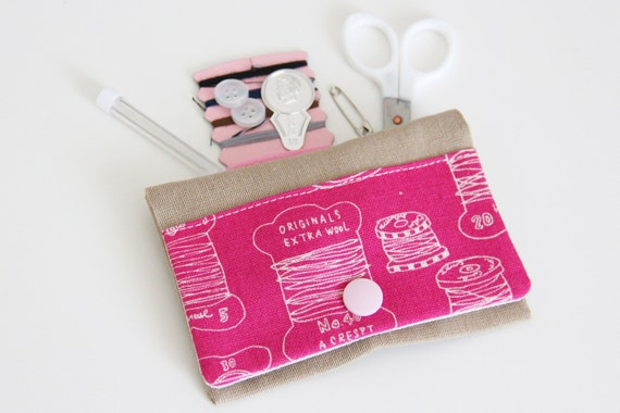 Sewing kit - sewing - threads - white - pink - travel - threads - scissors - needle - pincushion - button - fixing - pink