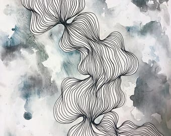 Line And Shape Design : Abstract line art black and white modern drawing organic