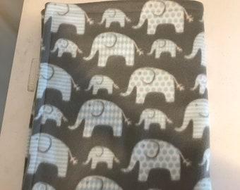 Fleece elephant baby blanket