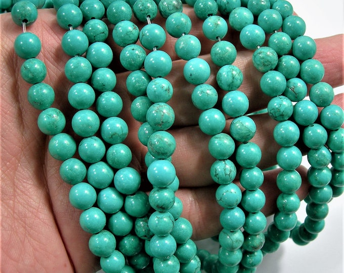 Howlite turquoise - 8mm round beads - full strand - 50 beads -  A plus Quality - WHOLESALE DEAL - RFG1580